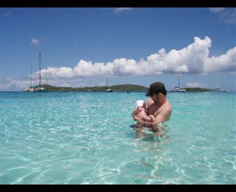 enjoying a swim in the crystal clear waters of the virgin islands